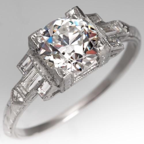Art Deco Engagement Ring GIA Old Euro Diamond I/VS2 Geometric