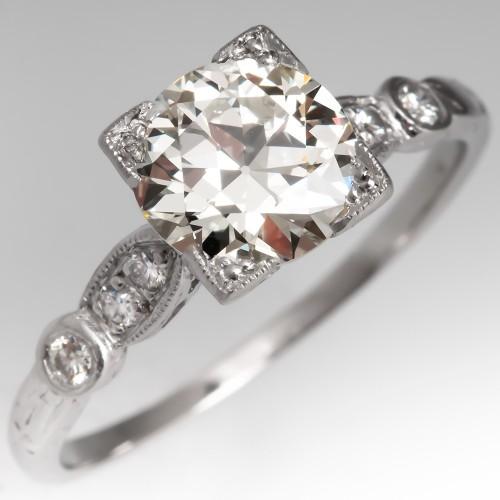Perfect Vintage Diamond Engagement Ring Platinum 1.36Ct