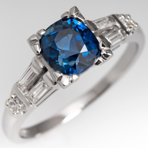 2 Carat Deep Rich Sapphire Engagement Ring Vintage Mount