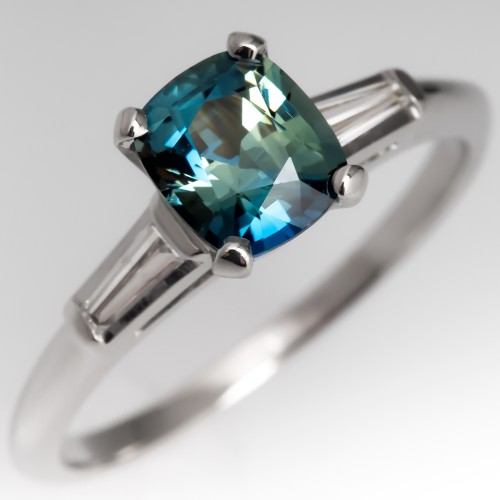 No Heat Vibrant Blue Green Sapphire Engagement Ring w/ Baguettes