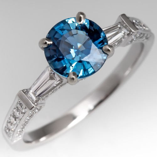 No Heat Bright Icy Blue Sapphire Engagement Ring 18K White Gold