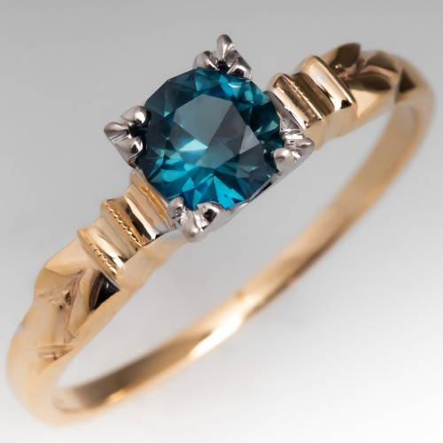 Lovely Blue Green Sapphire Ring in 1950's Vintage Gold Solitaire Mounting