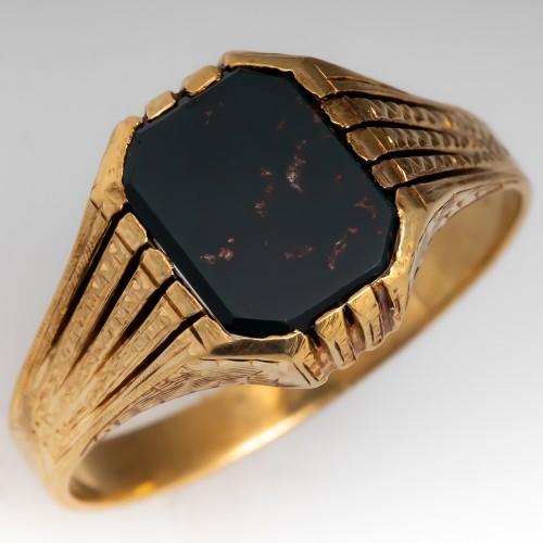 Vintage Mens Bloodstone Ring Detailed 14K Gold