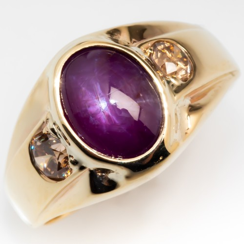 Vintage Mens Natural Star Ruby & Champagne Diamond Ring