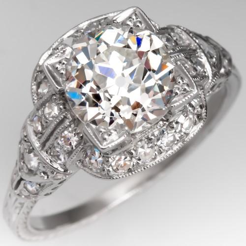 GIA 1.9 Carat K/SI1 Old Mine Cut Diamond Vintage Engagement Ring