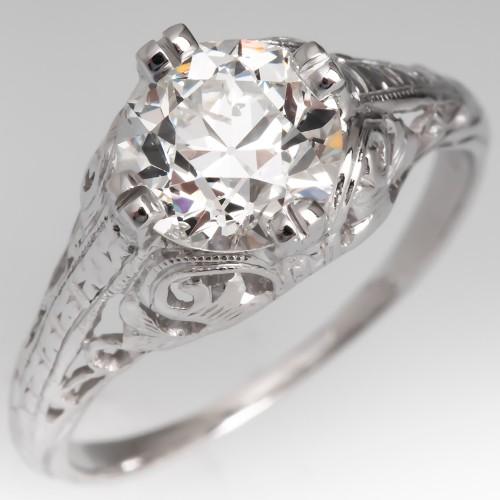 1920's Platinum Filigree Antique Diamond Engagement Ring GIA 1.36ct