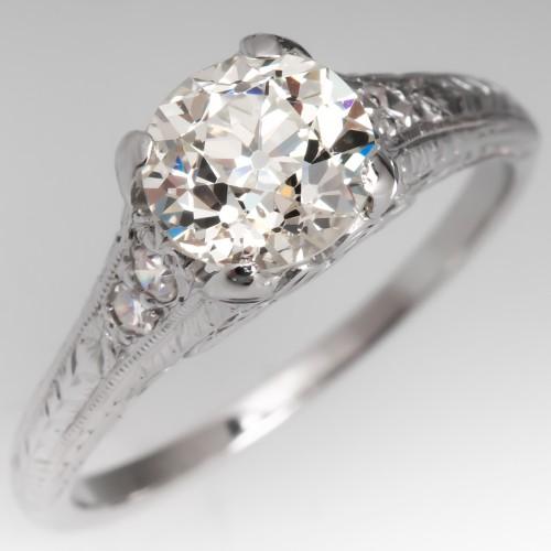 1930's Art Deco Antique Diamond Engagement Ring 18K GIA 1.38Ct