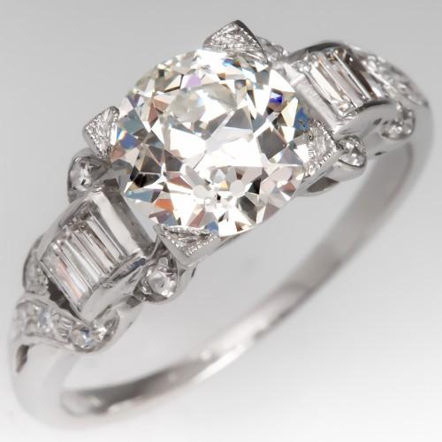 Beautiful 1920's Antique Diamond Engagement Ring Platinum GIA 1.52Ct
