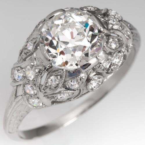 GIA 1.5 Carat J/VS2 Old Euro Diamond Antique Engagement Ring