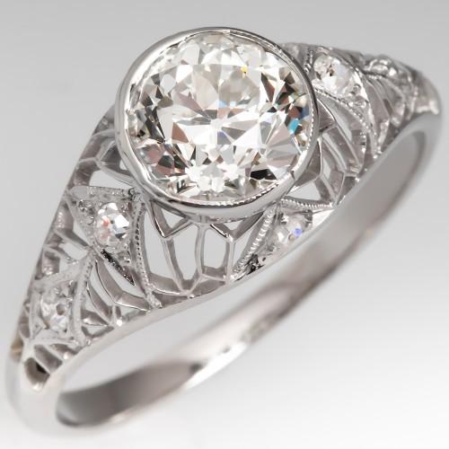 1920's Domed Bezel Set Old European Cut Diamond Ring Platinum GIA