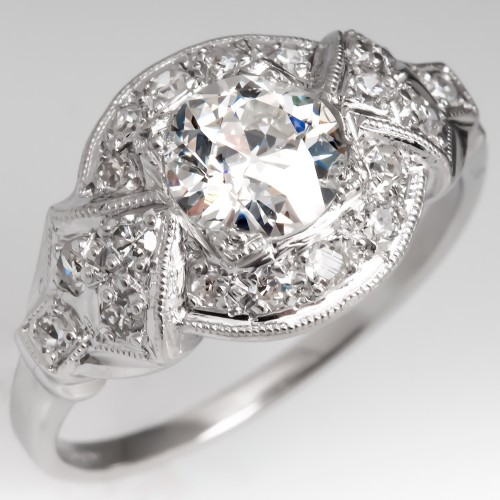 Art Deco 1930's Platinum Diamond Engagement Ring GIA