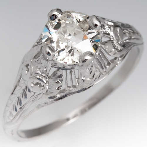 Detailed 1930's Antique Diamond Ring Platinum GIA