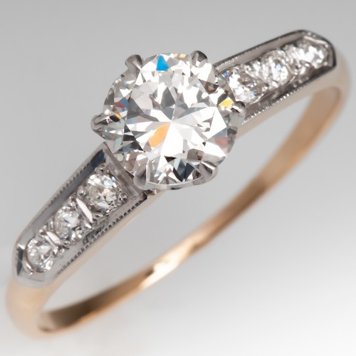1940's Vintage Diamond Engagement Ring 2-Tone GIA G/SI1