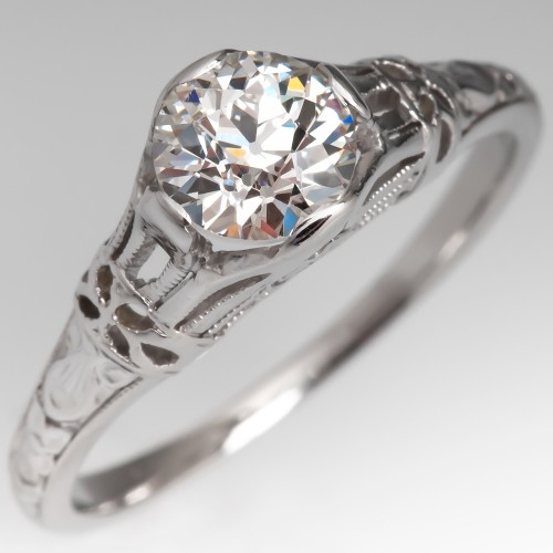 1920's Orange Blossom Antique Diamond Engagement Ring GIA