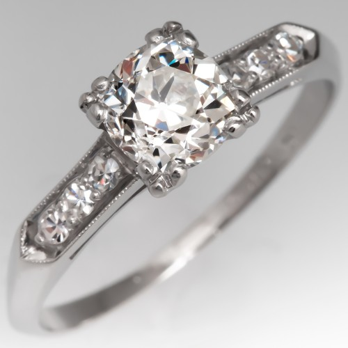 Classic 1930's Diamond Engagement Ring Old Mine Cut GIA
