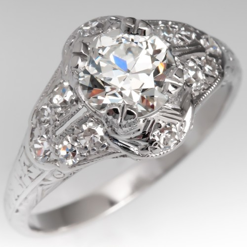 Beautiful Late 1930's Antique Diamond Engagement Ring Platinum GIA