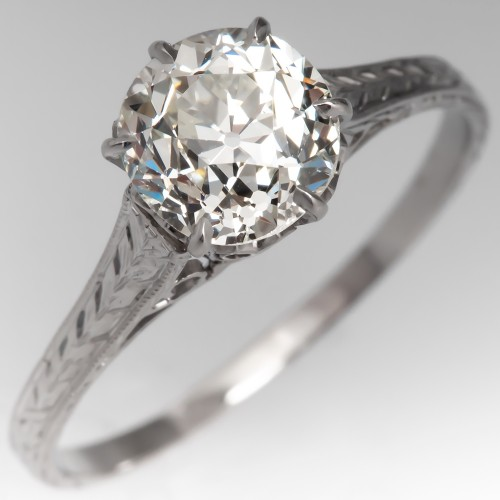 1920's Solitaire Old Euro Diamond Engagement Ring Engravings