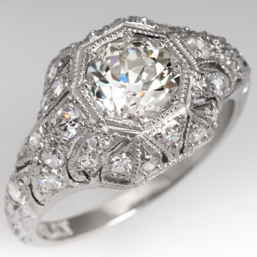 Amazing Diamond Encrusted Filigree Engagement Ring