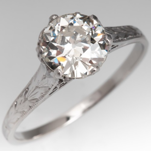 GIA 1 Carat Old Euro Diamond 1920's Solitaire Engagement Ring