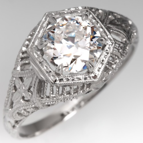 GIA 1 Carat E/VS1 Transitional Cut Diamond Vintage Filigree Engagement Ring