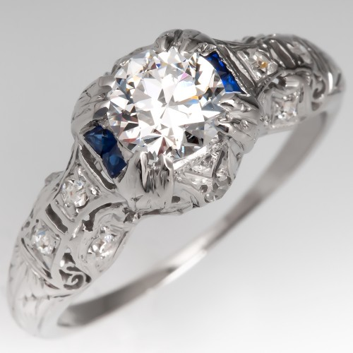 Art Deco Diamond Engagement Ring w/ Blue Sapphires Ornate Platinum