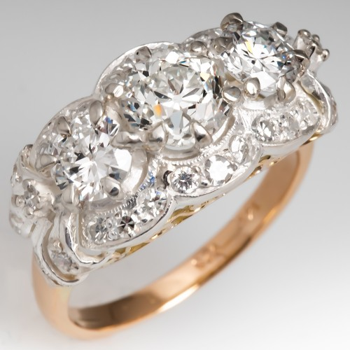 Retro Three Stone Floral Diamond Ring 14K Gold & Silver