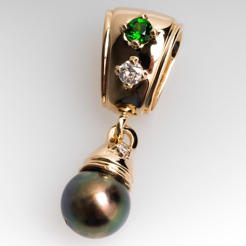 Tahitian Pearl Chrome Diopsode & Diamond Slide Pendant 14K Gold