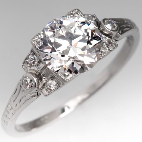 GIA 1 Carat Old Euro Diamond Art Deco Engagement Ring