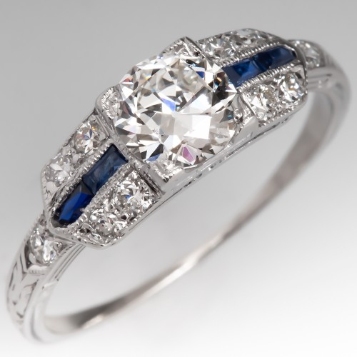 Art Deco Engagement Ring GIA G/VVS2 Transitional Cut Diamond & Sapphires