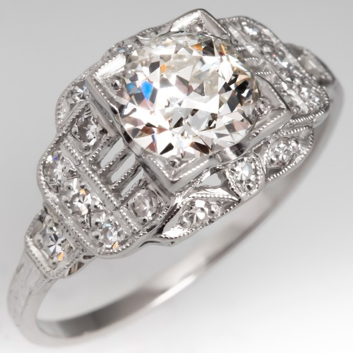 GIA I/VS1 European Cut Diamond Art Deco Engagement Ring