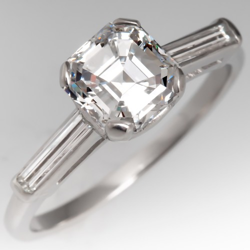 Vintage Asscher Cut Diamond Engagement Ring GIA D/SI1