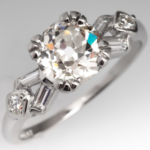 1930's Engagement Ring GIA 1.7 Carat Old Euro Diamond Platinum
