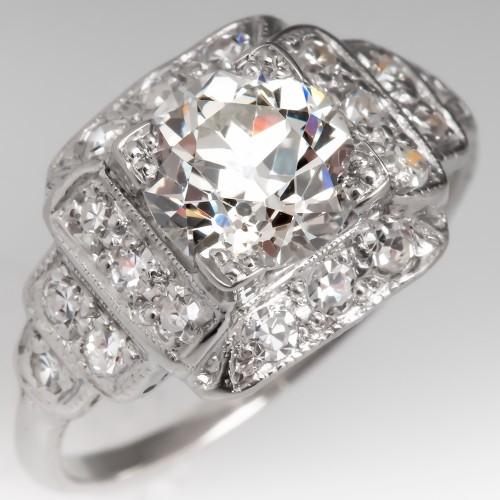 GIA 1.2CT Old Euro Diamond Art Deco Engagement Ring