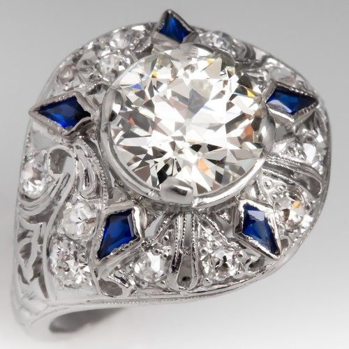 Art Deco Engagement Ring Old Euro Diamond w/ Sapphires in Platinum