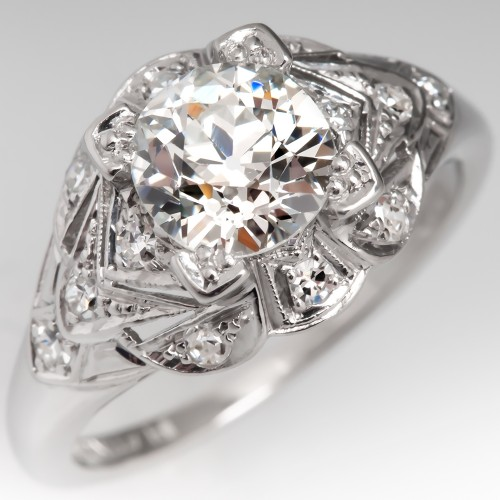 GIA 1.2 Carat Old Euro Diamond Antique Engagement Ring