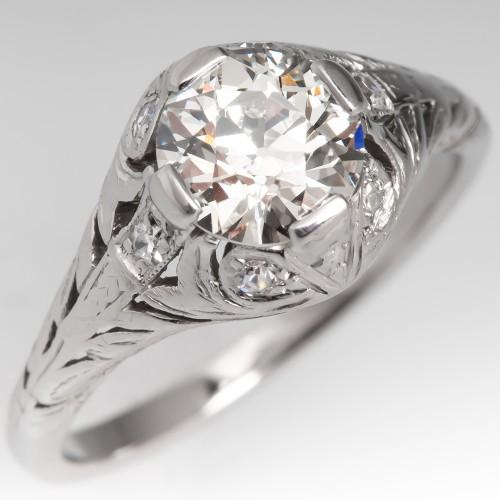 1920's Filigree Engagement Ring GIA H/VVS2 Old Euro Diamond