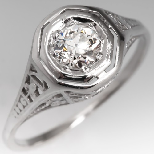 Vintage Filigree Engagement Ring Old Euro Diamond 14K White Gold