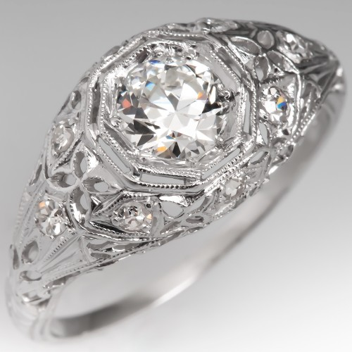 GIA H/VS2 Antique Filigree Engagement Ring Transitional Cut Diamond