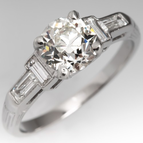 1950's Heirloom Old European Cut Diamond Engagement Ring GIA