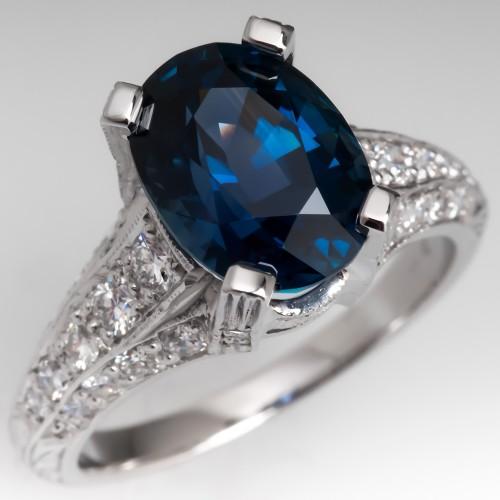 4 Carat Vivid Teal Sapphire Ring in Ornate Platinum Diamond Ring
