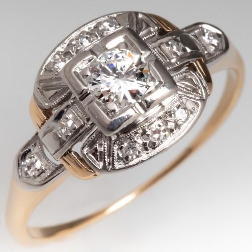 1940's Vintage Diamond Engagement Ring 14K Gold & Platinum