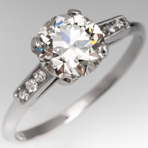 Heirloom Old European Cut Diamond Engagement Ring Platinum 1.56 GIA