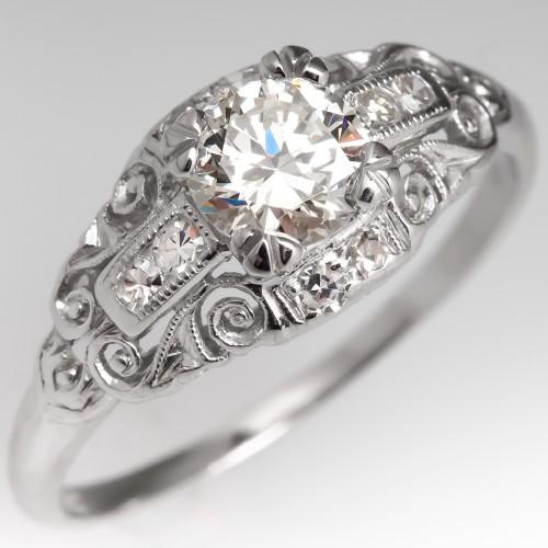 Beautiful Vintage Engagement Ring 1/2 Carat Diamond Platinum