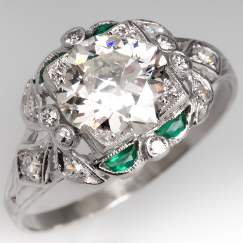 GIA Old Euro Diamond Art Deco Filigree Engagement Ring w/ Green Accents