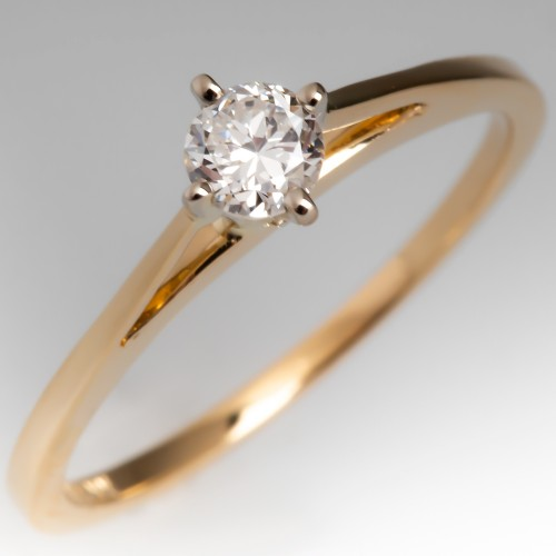 1/4 Carat Round Brilliant Diamond 4-Prong Solitaire Engagement Ring 14K Gold