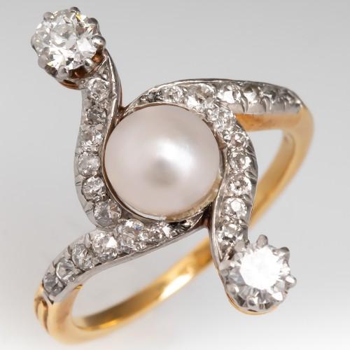 Victorian Natural Pearl & Diamond Ring 18K & Platinum