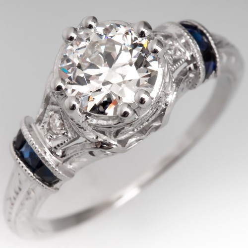 Art Deco Engagement Ring Old Euro Diamond Filigree w/ Sapphires