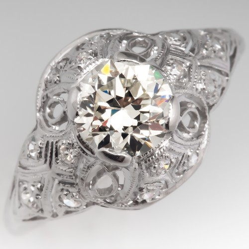 .87CT N/VS2 Vintage Filigree Diamond Engagement Ring Platinum