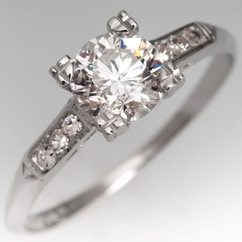 Timeless Vintage Diamond Solitaire w/ Accents Engagement Ring Platinum