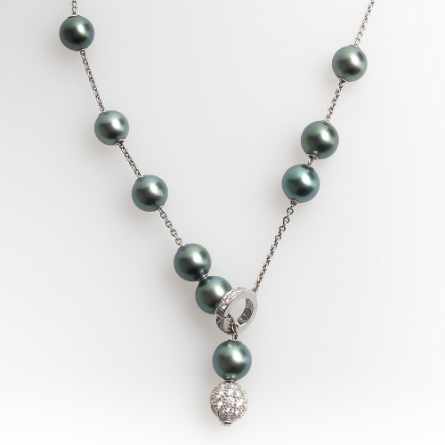 Mikimoto Necklace Tahitian Pearls in Motion w/ Diamonds 18K